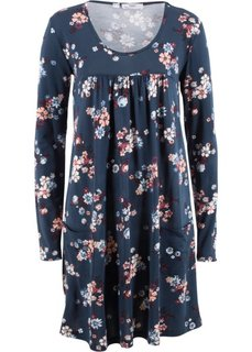 Платье из трикотажа с длинным рукавом (темно-синий в цветочек) Bonprix