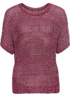 Пуловер из структурной пряжи (красный меланж) Bonprix