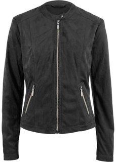 Куртка из искусственной замши (черный) Bonprix