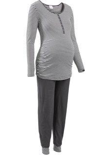 Пижама для будущих и кормящих мам (антрацитовый/экрю в полоску) Bonprix