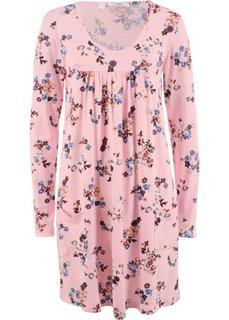Платье из трикотажа с длинным рукавом (розовая пудра в цветочек) Bonprix