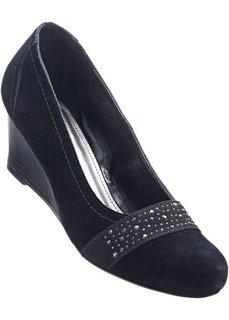 Туфли на танкетке, натуральная кожа (черный) Bonprix