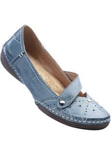 Туфли кожаные (синий джинсовый) Bonprix