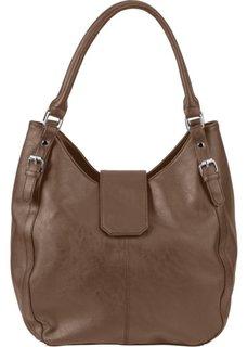 Кожаная сумка (серо-коричневый) Bonprix