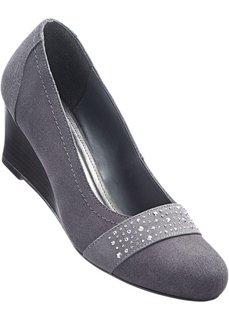 Туфли на танкетке, натуральная кожа (светло-серый) Bonprix