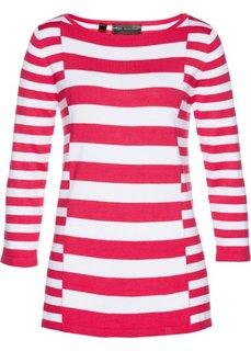 Пуловер (белый/ярко-розовый гибискус) Bonprix