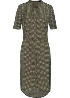 Платье (хаки/экрю в горошек) Bonprix