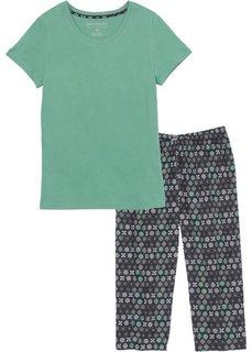 Пижама-капри (зеленый шалфей/черный с рисунком) Bonprix