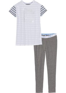Пижама с легинсами (белый/серый меланж/синяя пудра в полоску) Bonprix