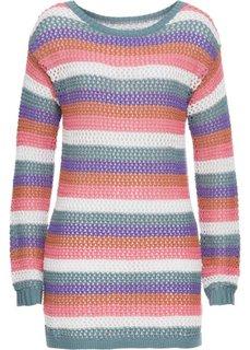 Пуловер полосатый ажурный с длинным рукавом (разноцветные полоски) Bonprix