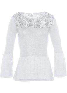 Пуловер с кружевной отделкой (белый) Bonprix