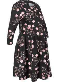 Платье для беременных, материал под неопрен (черный в цветочек) Bonprix