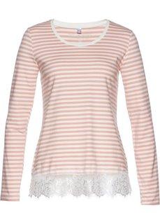 Футболка с длинным рукавом и кружевной отделкой (винтажно-розовый/цвет белой шерсти в поперечную полоску) Bonprix