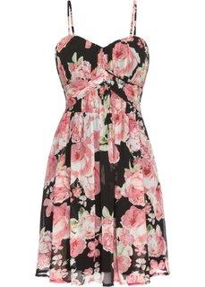Шифоновое платье (черный в цветочек) Bonprix