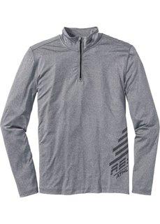 Функциональная футболка Tight Fit с воротником-стойкой (серый меланж) Bonprix