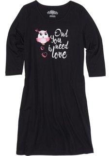 Ночная рубашка с рукавом 3/4 (черный с рисунком) Bonprix
