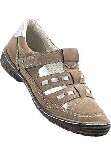 Кроссовки открытого дизайна (серо-коричневый/серебристый) Bonprix