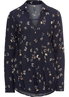 Блузка с запахом (темно-синий с рисунком) Bonprix