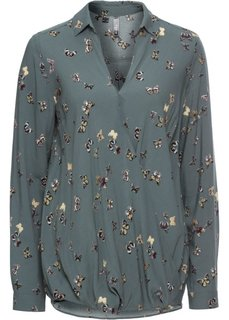 Блузка с запахом (зеленый камыш с принтом) Bonprix