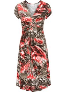 Трикотажное платье с драпировкой под грудью (коричневый с узором) Bonprix