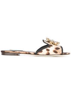 декорированные сандалии на плоской подошве Dolce & Gabbana