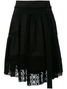 асимметричная юбка с кружевной отделкой  Alberta Ferretti