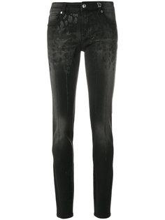 облегающие джинсы с леопардовым узором из стразов Versace Jeans