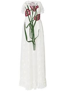 кружевное платье с бюстье с вышитыми тюльпанами Christopher Kane