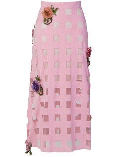 юбка в клетку с цветочной отделкой  Christopher Kane