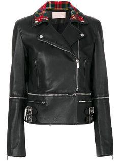 байкерская куртка с принтом тартан на воротнике  Christopher Kane