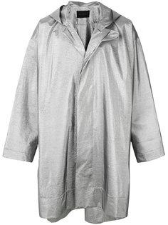 блестящее пальто свободного кроя с капюшоном  Christopher Kane