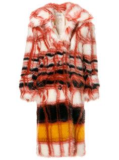 пальто из искусственного меха в клетку  Miu Miu