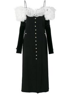 платье на пуговицах с оборками Alessandra Rich