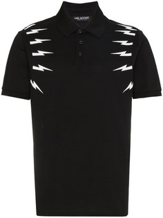 футболка-поло с принтом вспышек молнии Neil Barrett