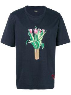 футболка с принтом вазы с цветами Fendi