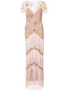 платье макси с вышивкой и бахромой Marchesa Notte