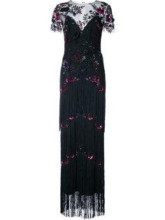 вечернее платье с бахромой Marchesa Notte