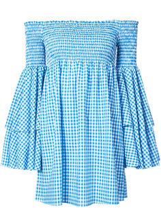 платье в клетку с открытыми плечами Caroline Constas