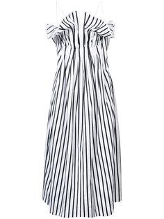 полосатое платье с присборенной отделкой Adam Lippes