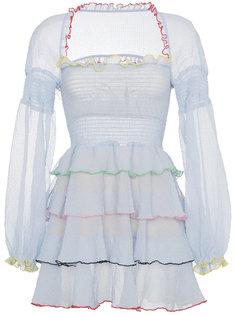 платье мини с ярусными оборками Evian Sandy Liang