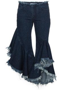 джинсы клеш с оборками и необработанным краем  Marquesalmeida