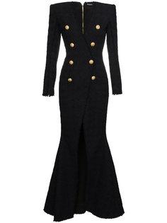 платье с длинными рукавами и V-образным вырезом  Balmain