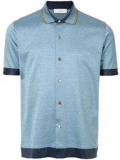 рубашка-поло с контрастной окантовкой и мелким принтом Cerruti 1881