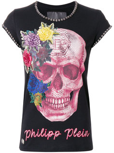 футболка с принтом черепа и заклепками  Philipp Plein