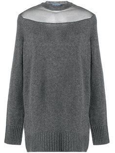 свитер с прозрачной панелью Prada