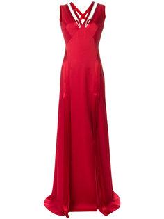 расклешенное платье с V-образным вырезом и стразами  Versace