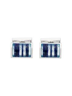 декорированные полосатые запонки Canali
