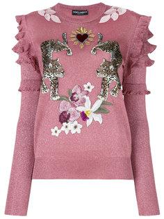 джемпер с принтом леопарда  Dolce & Gabbana