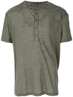 футболка с планкой на пуговицах John Varvatos