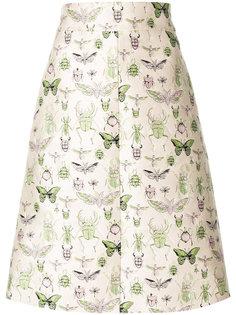 юбка А-силуэта с принтом насекомых Red Valentino